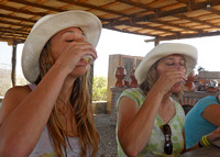 Tasting tequila (the white tequila was pretty smooth)